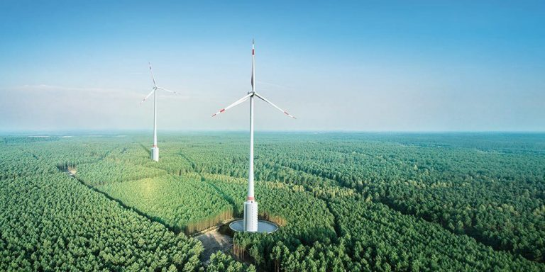 New record: The height of the wind turbine from the German company Max Bögl Wind is 264.5 m